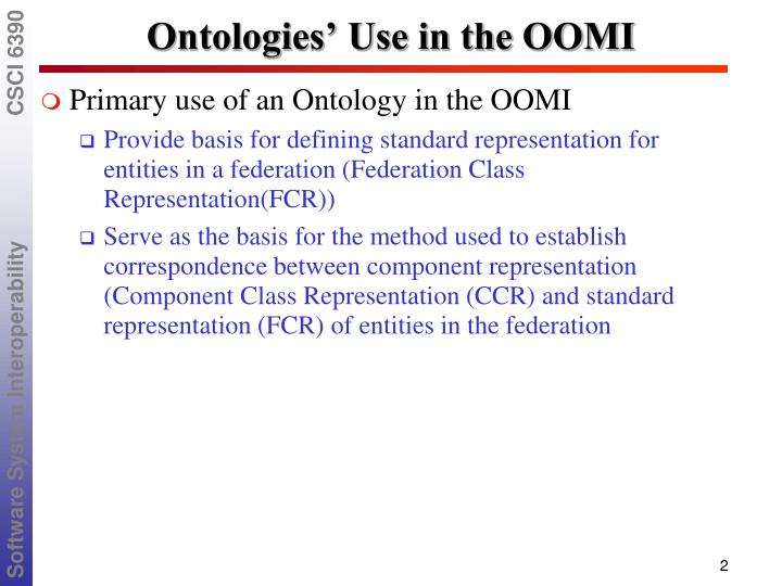 Ontologies' Use in the OOMI