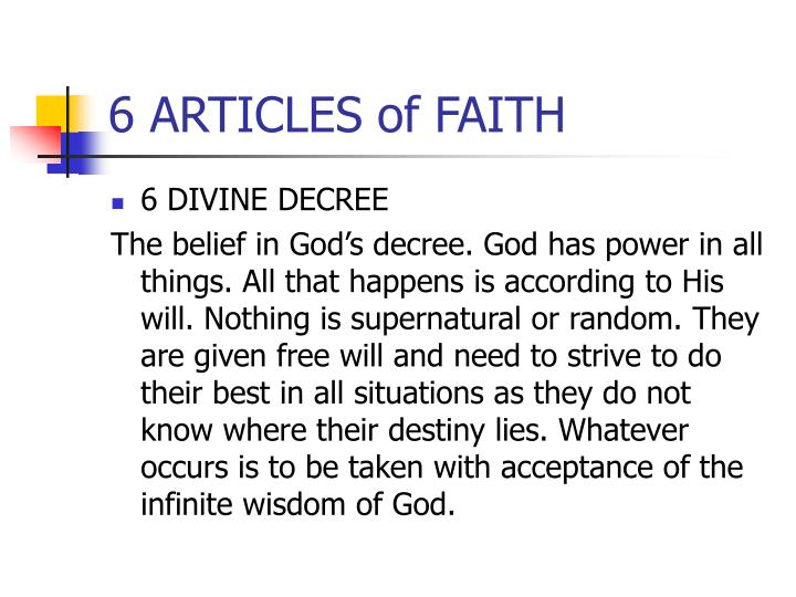 6 ARTICLES of FAITH