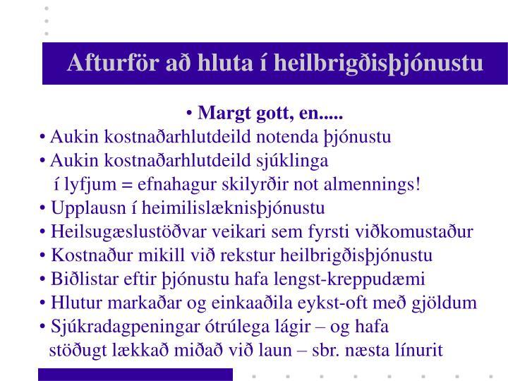 Afturför að hluta í heilbrigðisþjónustu