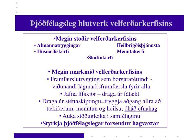 Þjóðfélagsleg hlutverk velferðarkerfisins
