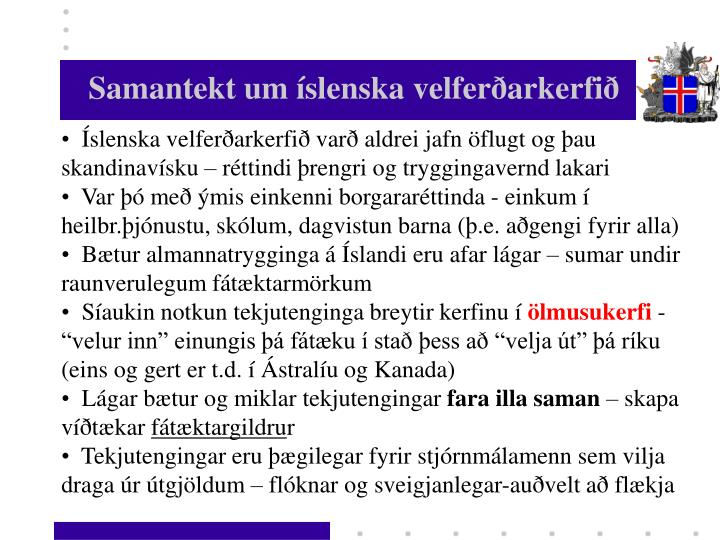 Samantekt um íslenska velferðarkerfið