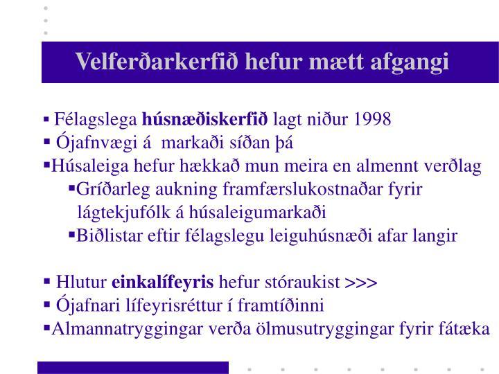 Velferðarkerfið hefur mætt afgangi