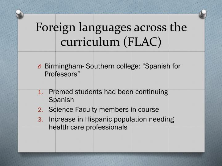 Foreign languages across the curriculum (FLAC