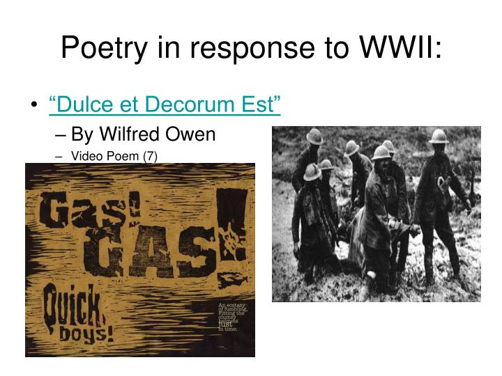 Poetry in response to WWII: