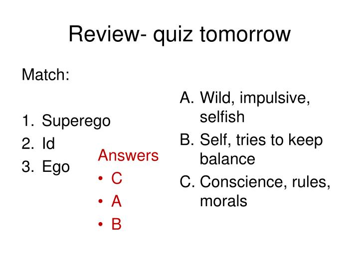 Review- quiz tomorrow