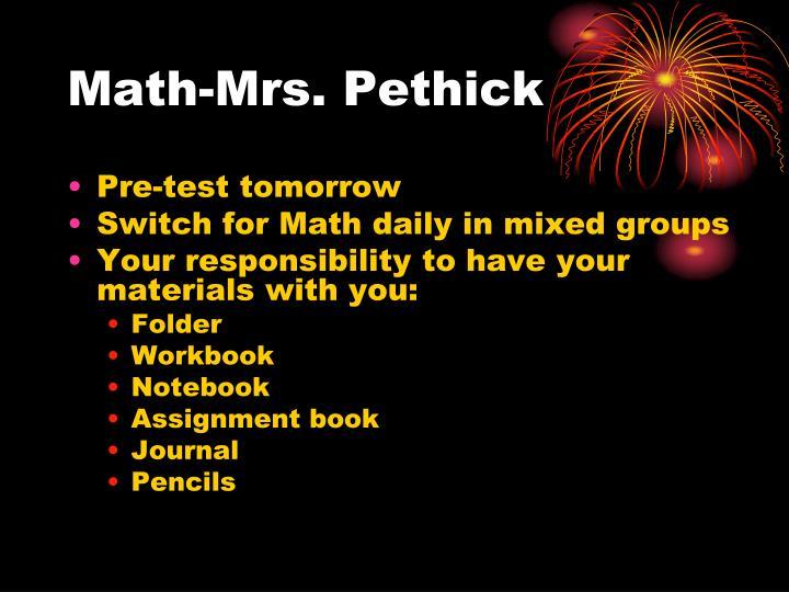 Math-Mrs. Pethick