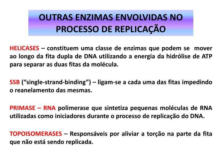 OUTRAS ENZIMAS ENVOLVIDAS NO PROCESSO DE REPLICAÇÃO