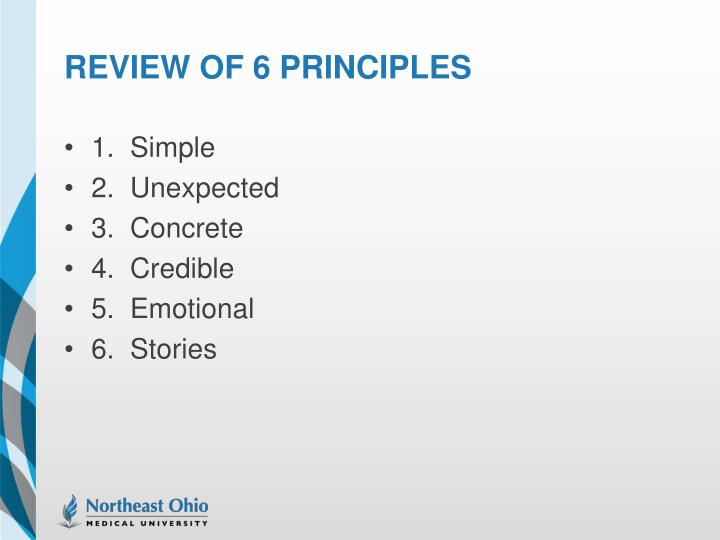 Review of 6 principles