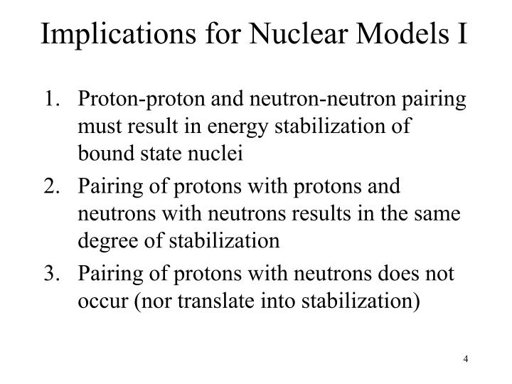 Implications for Nuclear Models I