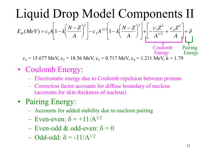Liquid Drop Model Components II