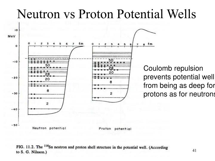 Neutron vs Proton Potential Wells