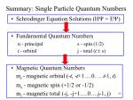 summary single particle quantum numbers