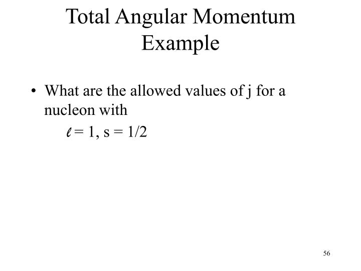 Total Angular Momentum Example