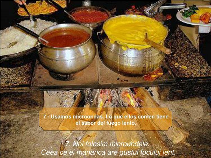 7 - Usamos microondas. Lo que ellos comen tiene el sabor del fuego lento.