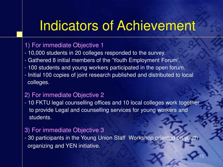 Indicators of Achievement