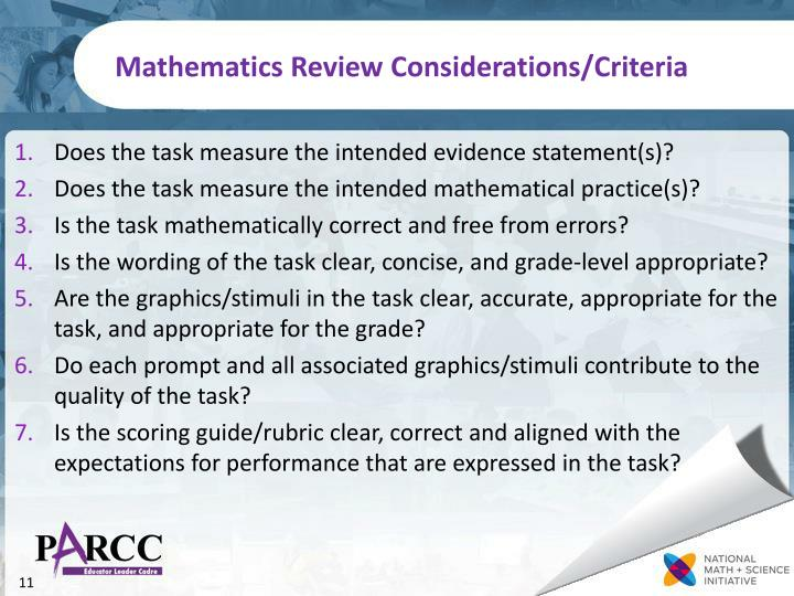 Mathematics Review Considerations/Criteria