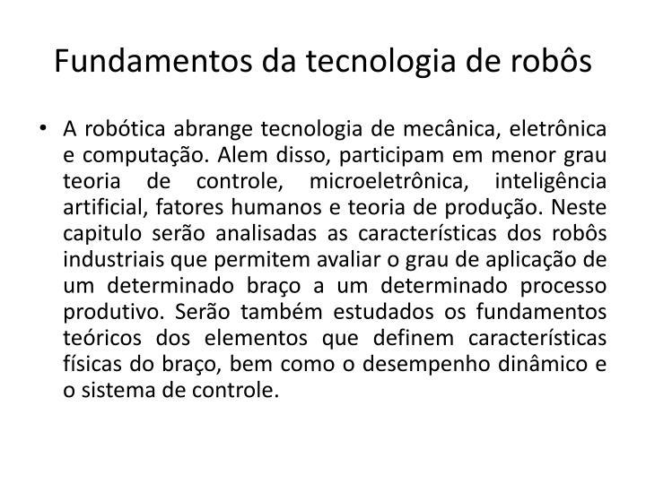 Fundamentos da tecnologia de robôs