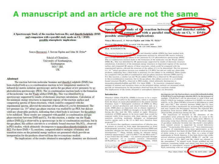 A manuscript and an article are not the same