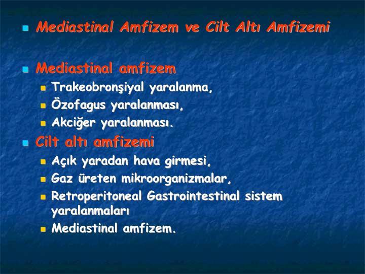 Mediastinal Amfizem ve Cilt Alt Amfizemi