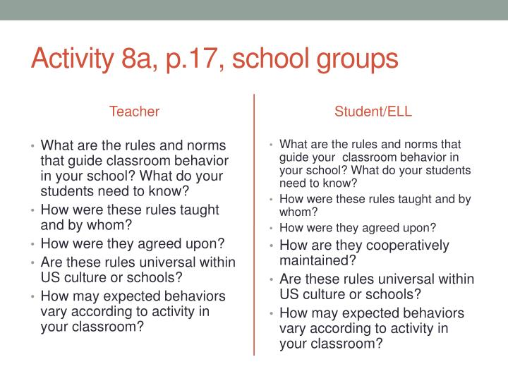 Activity 8a, p.17, school groups