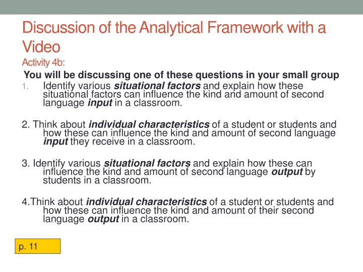 Discussion of the Analytical