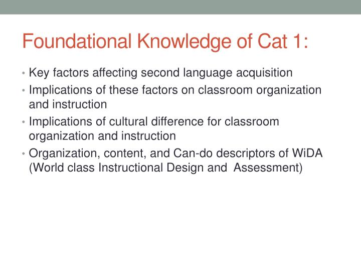 Foundational knowledge of cat 1