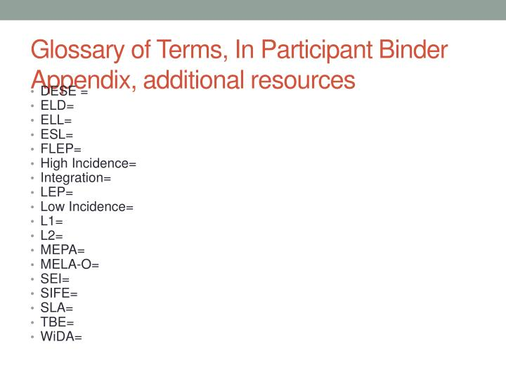 Glossary of Terms, In Participant Binder Appendix, additional resources