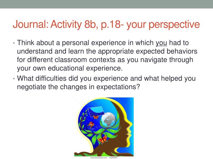Journal: Activity 8b, p.18- your perspective