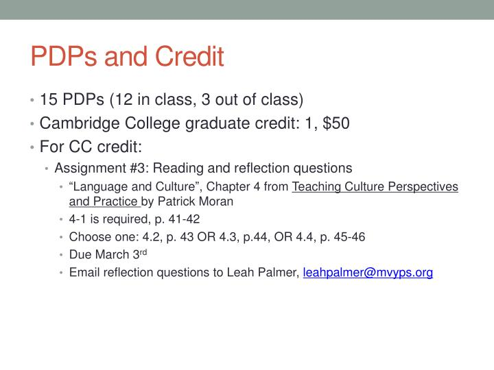 PDPs and Credit