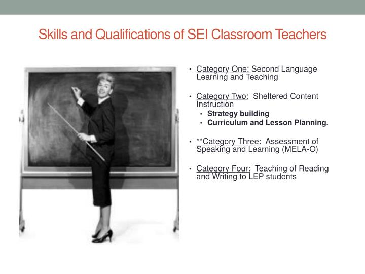 Skills and Qualifications of SEI Classroom Teachers