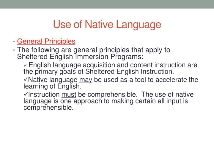 Use of Native Language