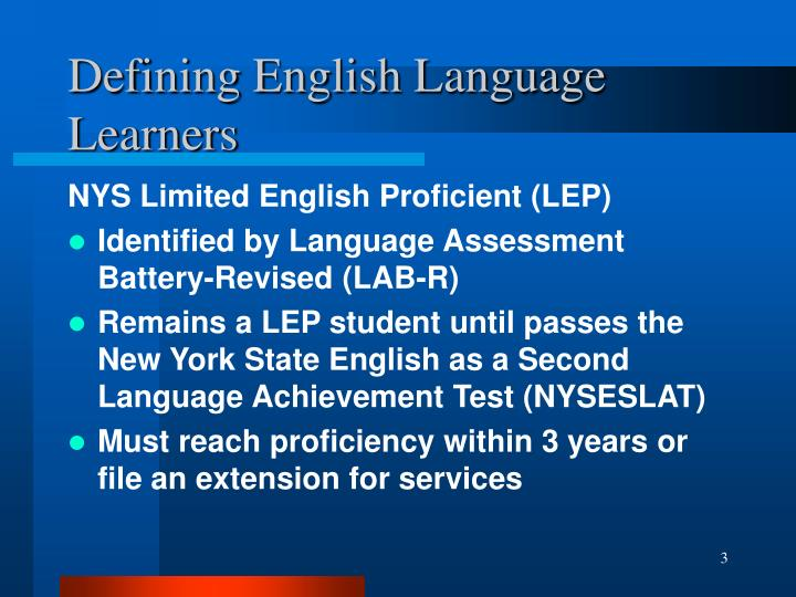 Defining english language learners