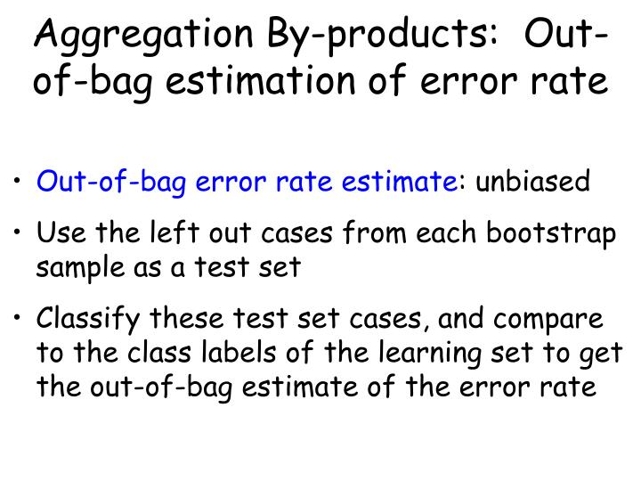 Aggregation By-products:  Out-of-bag estimation of error rate