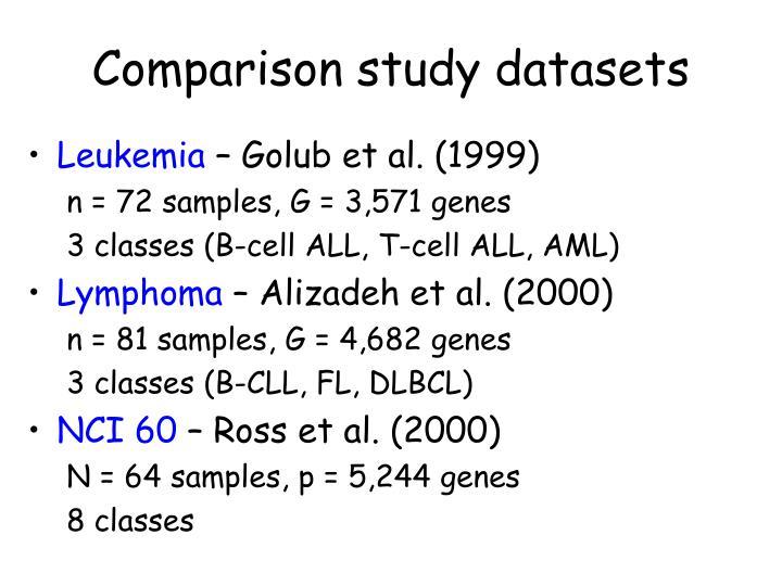 Comparison study datasets