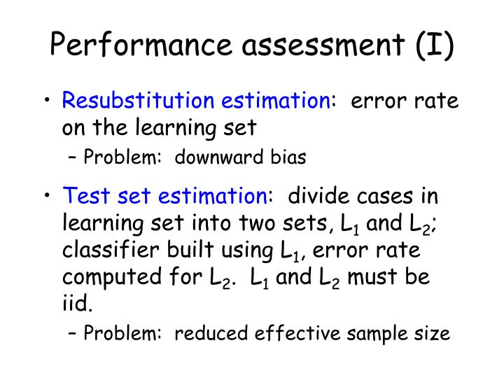 Performance assessment (I)