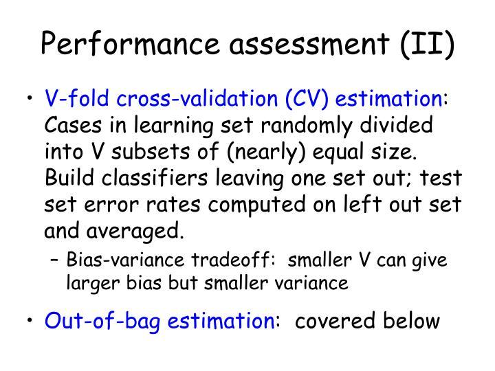 Performance assessment (II)