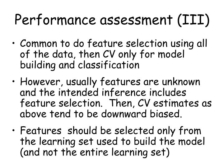 Performance assessment (III)