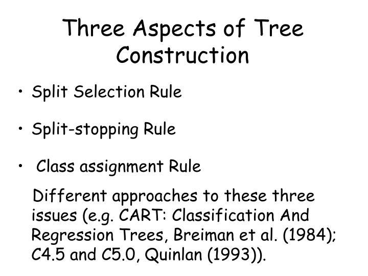 Three Aspects of Tree Construction