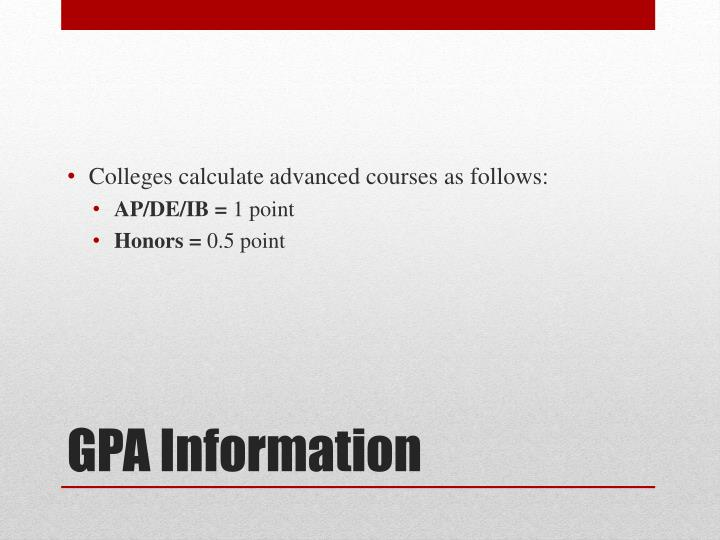Colleges calculate advanced courses as follows: