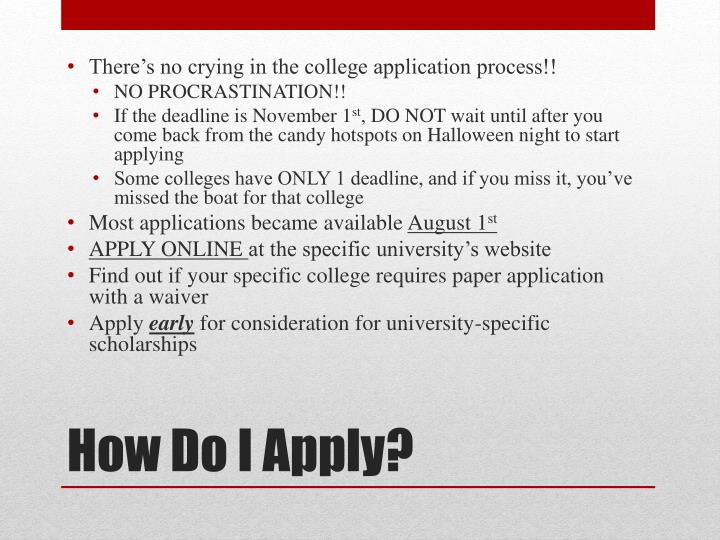 There's no crying in the college application process!!