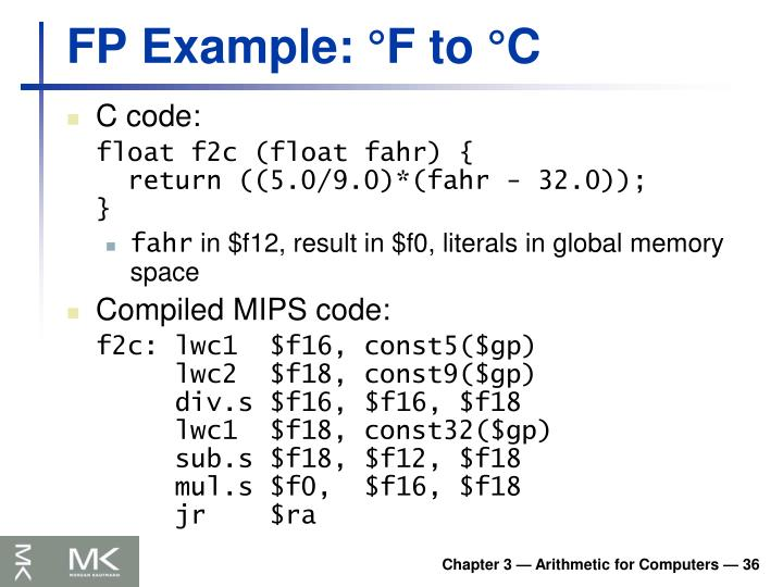 FP Example: °F to °C