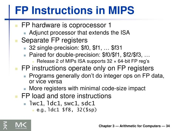 FP Instructions in MIPS