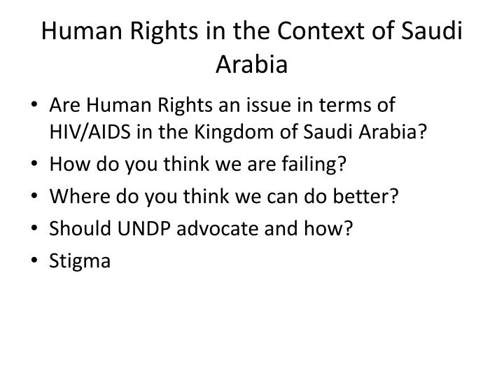 Human Rights in the Context of Saudi Arabia