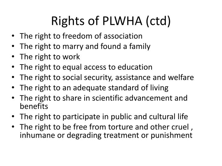Rights of PLWHA (ctd)