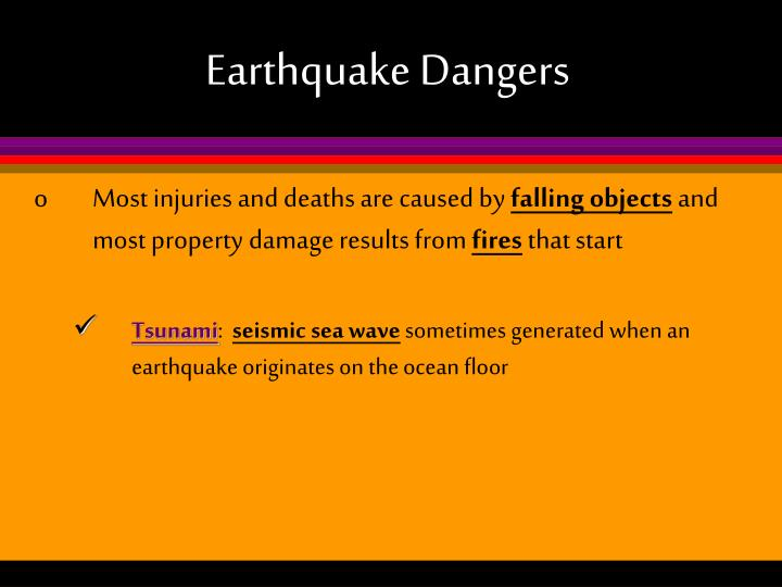 Earthquake Dangers