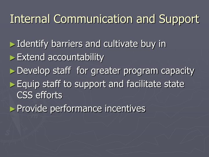 Internal Communication and Support
