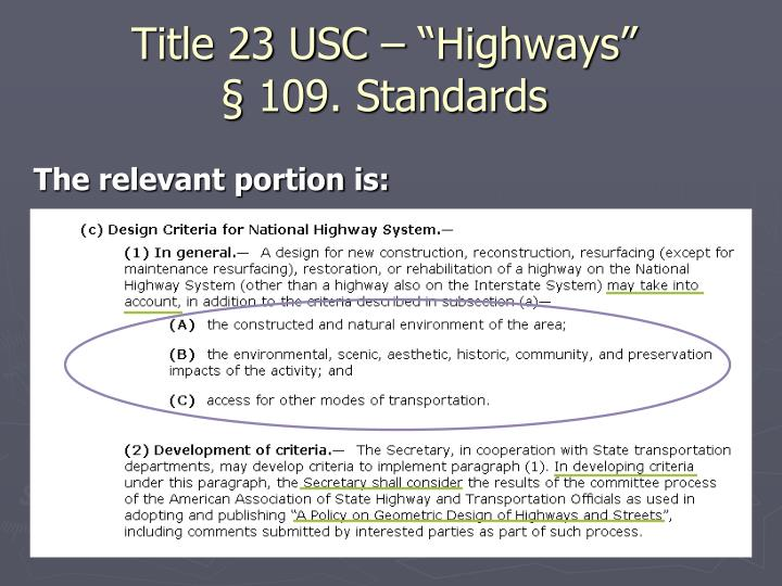 "Title 23 USC – ""Highways"""