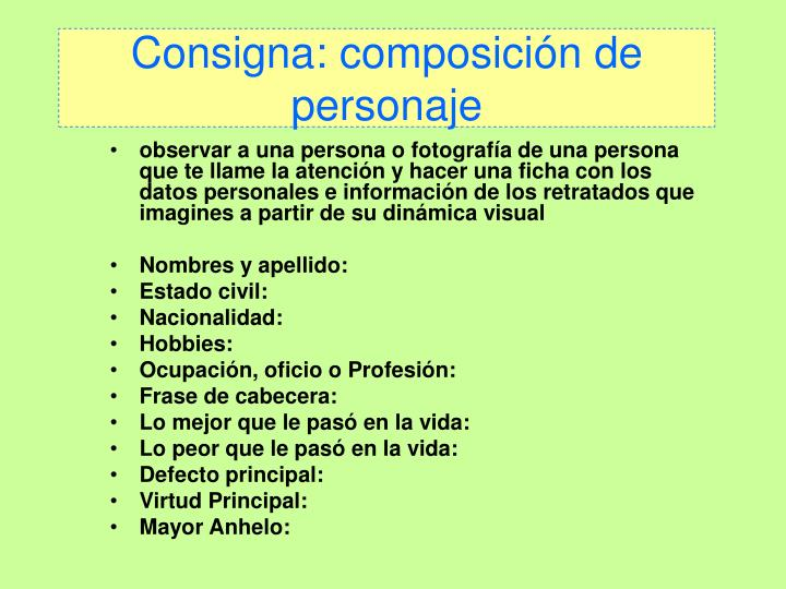 Consigna: composición de personaje