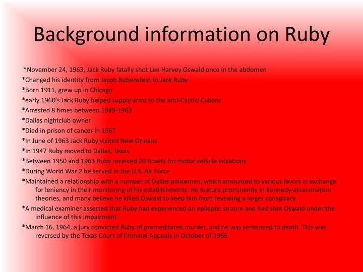 Background information on Ruby