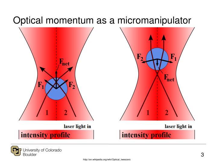 Optical momentum as a micromanipulator
